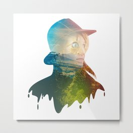 Mysterious Lady on Woods Metal Print