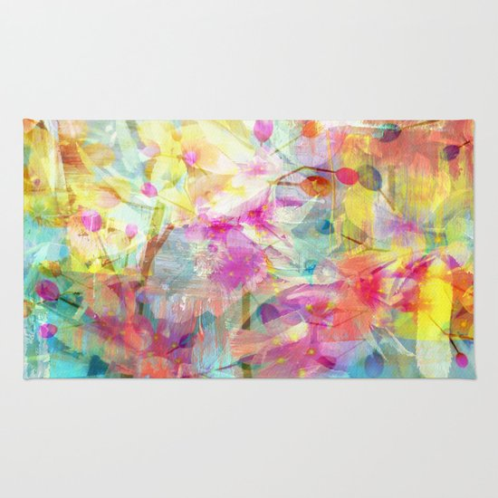 Colorful Painterly Spring Floral Abstract Rug By Judy