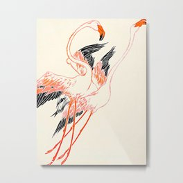 Cocorico cover 1900 Two Pink Flamingos Metal Print
