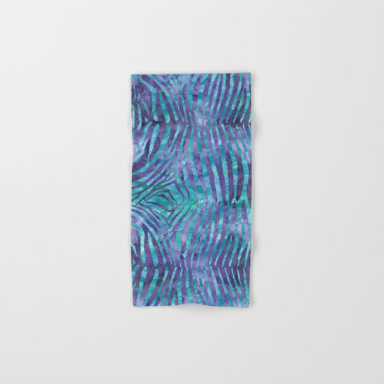 Blue Zebra Print Hand & Bath Towel