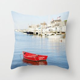 Vibrant Red Boat in Nantucket Harbor Throw Pillow