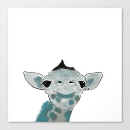 Happy Baby Giraffe // Giraffe In Watercolor Blue and Gray Canvas Print
