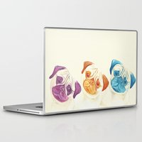 pugs Laptop & iPad Skins featuring Three pugs by mirikins