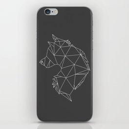 Geometric Wolf (White on Grey) iPhone Skin