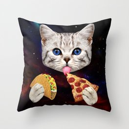 Space Cat with taco and pizza Throw Pillow