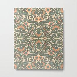 Green Vines and Flowers Pattern Metal Print