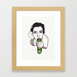 Unknown Celebrity with Pickle Framed Art Print