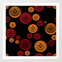 Colorful buttons on a black background. Art Print