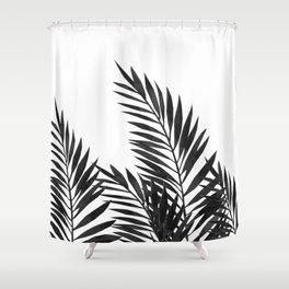 Palm Leaves Black Shower Curtain
