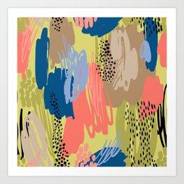 Modern coral brown blue black abstract brushstrokes Art Print