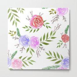 Colorful Spring roses watercolor painting Metal Print