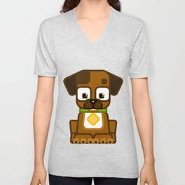 Super cute animals - Cute Brown Puppy Dog Unisex V-Neck