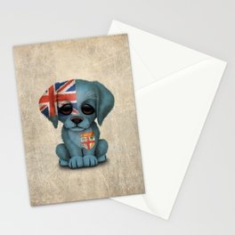 Cute Puppy Dog with flag of Fiji Stationery Cards