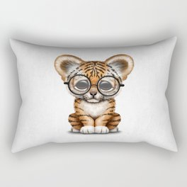 Cute Baby Tiger Cub Wearing Eye Glasses on White Rectangular Pillow