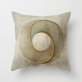 Geometrical Line Art Circle Distressed Gold Throw Pillow