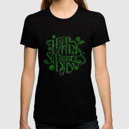 Happy St Patrick's day retro green typography design T-shirt