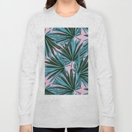 Tropical Palm Leaves in Botanical Green + Pink Long Sleeve T-shirt