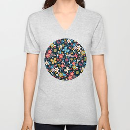 Ditsy Bugs and Butterflies Floral on Black Unisex V-Neck
