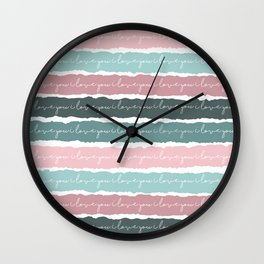 I Love You Cards and Girls Nursery Decor, Pastel Colors Wall Clock