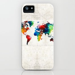 World Map 19 - Colorful Art By Sharon Cumming iPhone Case