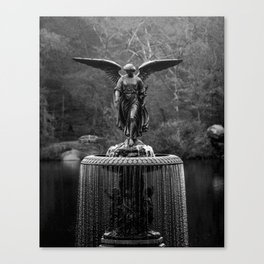 Believe in Magic, Bethesda Terrace Angel Fountain black and white photograph / art photography Canvas Print