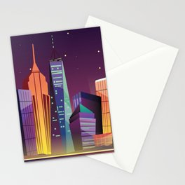 Gotham City at Night - Kitschy Cartoon New York City Manhattan Stationery Cards