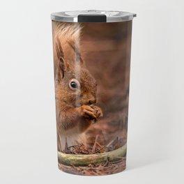 Nature woodland animals Red squirrel by a log Travel Mug