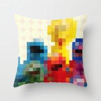 sesame street Throw Pillows featuring Sesame by Glen Gould