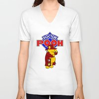 pooh V-neck T-shirts featuring Doctor Pooh by cû3ik designs