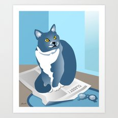 Jackson Cat Reads The News Art Print