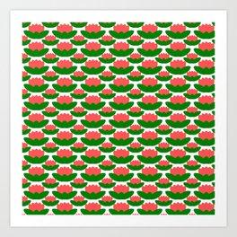 Papercut Lotus Pattern Art Print