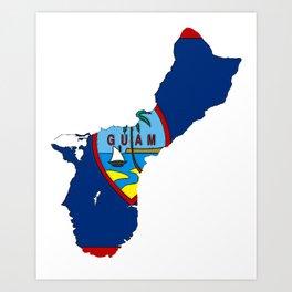 Guam Map with Guamanian Chamorro Flag Art Print