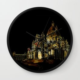 Paris Basilica Sacre Coeur at Night Wall Clock