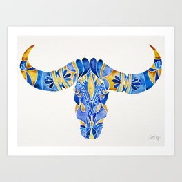 Water Buffalo Skull – Navy & Yellow Art Print