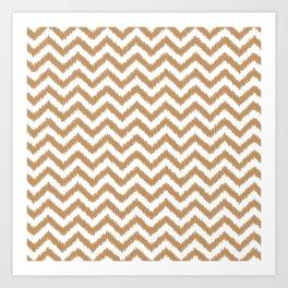 Gold Ikat Chevron Zigzag Pattern Art Print