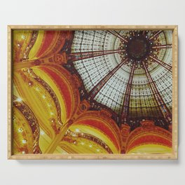 Stained glass roof of the Lafayette Galleries in Paris - Fine Arts Travel Photography Serving Tray
