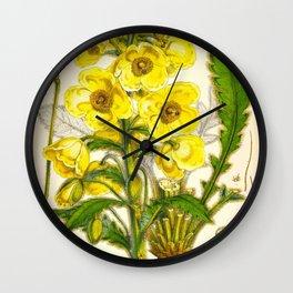 Yellow Himalayan Flowers Botanical Scientific Illustration Vintage Art Wall Clock