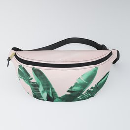 Turquoise Banana and palm Leaves Fanny Pack