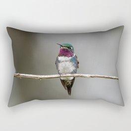 Perching White-bellied Woodstar Hummingbird Rectangular Pillow