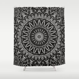 Ebony Lace Mandala Pattern Shower Curtain