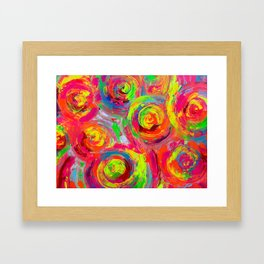 Abstract Relief Impasto Textured Modern Abstract Paintig - Detail from Gypsy Dance 11 Framed Art Print