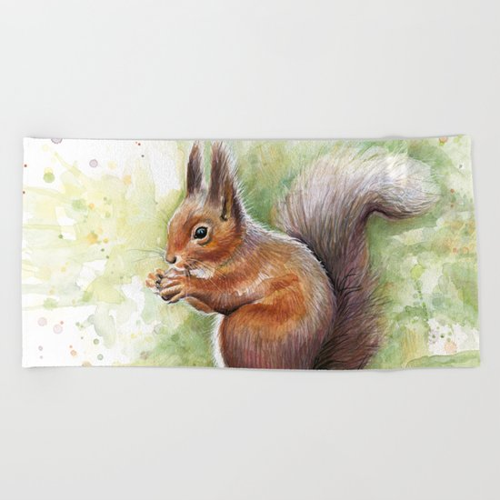Squirrel Watercolor Painting Beach Towel