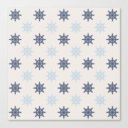 Nautical Blue Ships Wheel Pattern Canvas Print
