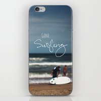 surfing iPhone & iPod Skins featuring Surfing by Brandy Coleman Ford