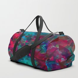 psychedelic geometric triangle abstract pattern in pink red blue Duffle Bag