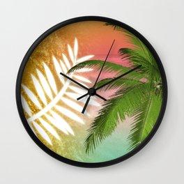 Tropical Palm Tree Palm Fronds & Gold Metallic Wall Clock