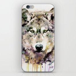 Wolf Head Watercolor Portrait iPhone Skin