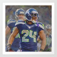 seahawks Art Prints featuring Beast Mode - Seahawks #24 by KyddCo