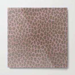 Vintage style ivory brown cheetah animal print pattern Metal Print