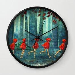 Five Little Red Riding Hoods 1 Wall Clock